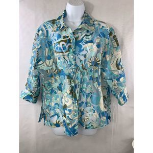 Notations Women's Blue Floral Sheer Blouse Size L